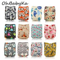Wholesale Diaper Gauze - Ohbabyka Baby Cloth Diaper Cartoon Print Snaps Adjustable Pocket Diaper Baby Shower Diapering 20Pcs +20pcs Microfiber Inserts