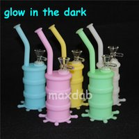Wholesale silicone barrel bong for sale - Group buy Portable glow in dark Hookah Silicone Barrel Rigs for Smoking Dry Herb Unbreakable Water Percolator Bong Smoking Oil Concentrate Pipe