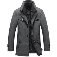 mens wolljacke erbsenmantel großhandel-2018 neue Männer Winter Wollmantel Slim Fit Jacken Mens Casual Dicke Baumwolle Warme Oberbekleidung Jacke Mäntel Mann Pea Coat Plus Größe M-5XL