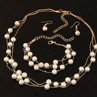ingrosso insieme doppio dei monili della perla-3Pcs / Set Fashion Imitazione Pearl Jewelry Set Simulato Pearl Double Layer Orecchini Donna Bracciale Set per matrimoni