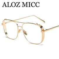 lunettes en or achat en gros de-ALOZ MICC Date Hommes Lunettes Cadre Femmes Or Clair Lunettes Marque Designer Cadre En Métal Dames Lunettes Cadre 2018 A463