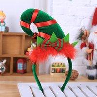 şapka saç süslemeleri toptan satış-Noel şapka Noel Için Sıcak Noel Süslemeleri Ev Kafa Bandı Santa Noel Partisi Dekoru Çift Saç Bandı Toka Başkanı Hoop