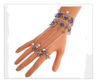 Wholesale gemstone ring online - Selling Sterling Silver Cool Punk Bracelet Jewelry With Gemstone Hipa Skeleton Hand Bone Talon Claw Skull Bracelet Cuff