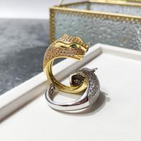ingrosso anello verde-Hot nuova moda paio anello accessori rame placcato oro testa di leopardo pieno di occhi verdi di cristallo anello maschile aperto