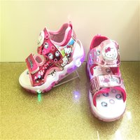 Wholesale children shoes kitty for sale - Group buy Children Cartoon Sandals Kids Hello Kitty Magic Sticker Luminescent Sandals Shoes Pairs Lovely Fashion Shoes B0091