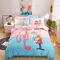 conjunto de comforter da rainha do oceano venda por atacado-Conjuntos de cama Pantera cor de rosa 4 pcs Padrão Geométrica Forros de Cama Capa de Edredão Folha de Cama Fronhas Capa Set