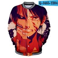 impressão japonesa venda por atacado-Chegada nova Mulheres / Homens Anime Japonês Ataque em Titan 3D Impressão Casacos de Beisebol Casaco Único Breasted Terno para o Outono Inverno