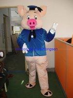 porco azul dos desenhos animados venda por atacado-EVA Material Capacete Azul roupas de porco Trajes Da Mascote Dos Desenhos Animados Vestuário festa de Aniversário Masquerade 987
