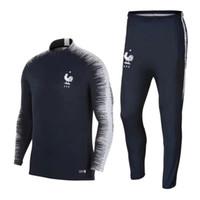 Wholesale Dry Suits - Thai 2018 France soccer Tracksuit POGBA MATUIDI Track suits jacket 18 19 GRIEZMANN chandal training suits sports wear