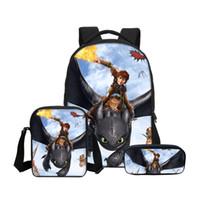 ingrosso borse per cerniere per matite-Fashion Customized 3Pcs / Set Bookbag per la scuola con borse a tracolla Pencil Pouch Design Come addestrare il tuo drago Stampa Zaini per ragazzi