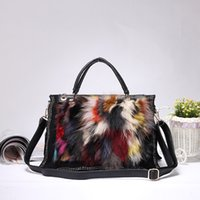 Wholesale diamond wave hair online - 2018 autumn and winter new wave female seven color fox fur rabbit hair diamond high end exquisite female portable Messenger bag T868
