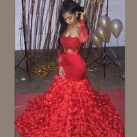 Wholesale yellow flower girl dress strapless resale online - Red Mermaid Prom Dresses Sexy Cutaway Sides Appliques D Flowers Train African Long Sleeves Evening Dress For Black Girls Formal Party Dress