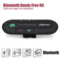 kit manos libres de visor bluetooth al por mayor-20pcs Bluetooth V3.0 Altavoz inalámbrico magnético Teléfono manos libres Altavoces en el kit de coche Visor Clip Bluetooth Car Kit