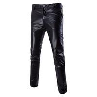 черные блестящие брюки оптовых-Mens Shiny Metallic Black Skinny Pants Casual Flat Front Slim Trousers Rave Rocker Nightclub Stage Costumes for Singers Dancer