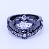 Wholesale Claddagh Bands - Fashion claddagh ring Jewelry Wedding band rings set for women 5A Zircon Cz Black Gold Filled Female Party Ring Birthday Gift
