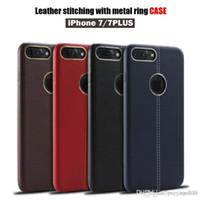 cajas del teléfono celular de cuero rojo al por mayor-Nuevo para Red Iphone 7 7 Plus Funda de piel suave Funda de cuero con anillo de metal Estuches de teléfonos celulares TPU DHL
