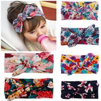 Wholesale Bow belt Children Printing Kids Baby Flower Headbands Hair Accessories Head Wrap Girls Children OPP Soundmae