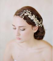 Wholesale golden wedding gowns resale online - Bridal European hairpin Baroque golden leaf ornament bridal gown bridal hand made headwear