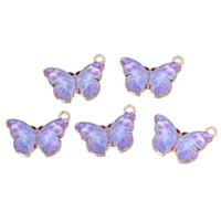 luces colgantes caja al por mayor-Doreen Box Charm Pendants Butterfly Light Golden Purple Esmalte 20mm (6/8