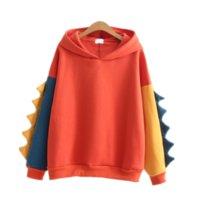 mode süße kapuzenpullis großhandel-Neue mode 2017 frauen sweatshirts hoodies Herbst Winter Süße niedlichen dinosaurier Samt kaschmir kapuzenpullover weibliche one size