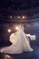 Wholesale elie saab wedding dresses gold - Elie Saab Wedding Dresses A Line Jewel Neck Sweep Train Lace Tulle Applique Beach Wedding Gowns Backless Long Sleeve Bridal Dress
