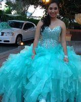 vestido de organza aqua venda por atacado-Princesa vestido de baile do quinceanera aqua dress 2019 doce 16 vestidos frisadas lantejoulas doce-coração pescoço debutante vestidos plus size vestidos de 15