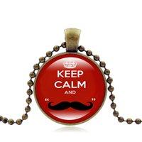 cadenas de bigotes al por mayor-Collar Mantenga la calma y el bigote Colgante Collares de cadena 28mm Cúpula de cristal Encantos Joyería