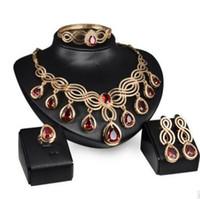 ingrosso set di cristalli rossi-gioielli di lusso gioielli di design impostato per gioielli da sposa collana di cristallo rosso bracciali orecchini anelli per le donne moda calda
