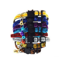 Wholesale cat collars bling - Fashion Pet Bling Gliitter Cat Collar With Safety Breakaway Plastic Buckle Kitten Necklace With Bell ZA6115
