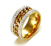 cadeia de titânio de alta qualidade venda por atacado-Titanium anel de aço de alta qualidade da cor do ouro anéis de cristal cadeia decorada anel de aço inoxidável rotativo eua tamanho # 7-12