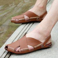 männer halbe pantoffelschuhe groihandel-Sommer Herren Sandalen Leder Drag Persönlichkeit koreanische Version der Männer Baotou Leder Halbschuhe Lazy Tide Schuhe