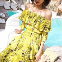 ingrosso abiti gialli-Self Portrait 2018 Summer Long Dress Women Sexy Off Shoulder Abiti a fiori con stampa floreale gialla