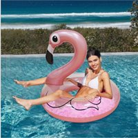 Wholesale giant toy for sale - Giant Inflatable Flamingo Float Flamingo Feather Swimming Ring cm Giant Pool Float Air Mattress Water Outdoor Toys LJJK1029