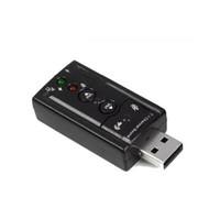 sonido usb 7.1 canal al por mayor-JP209-B CM108 Mini USB 2.0 3D externo 7.1 canales Sonido Virtual 12Mbps adaptador de tarjeta de sonido de audio de alta calidad