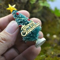 Wholesale miniature christmas ornament - Mini Artificial Christmas Tree Party Ornaments Figurines Miniatures DIY Home Decorations Crafts Gift Small Pine Trees 3*6.5cm