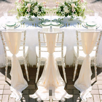 ingrosso la sedia copre l'arredamento di nozze-Romantico chiffon sedia da sposa telai fatti a mano celebrazione festa di compleanno evento sedia coperture decor wedding chair telai archi 150 * 50 cm