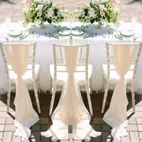 kutlama dekoru toptan satış-Romantik Şifon Düğün Sandalye Sashes El Yapımı Kutlama Doğum Günü Partisi Olay Sandalye Dekor Düğün Sandalye Sashes Yaylar Kapakları 150 * 50 CM