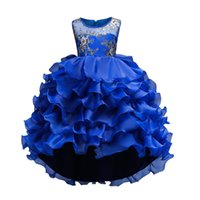 Wholesale baby wear photos resale online - girl Evening gown Wear Long Tail children Clothes girls dress baby girl clothes Hot Sale New Summer Girls floral Princess Party Dress