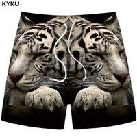 shorts cinzentos da carga dos homens venda por atacado-KYKU Marca Tiger Shorts Homens Animal Carga Shorts Praia Havaí Cinza 3d Impresso Calças Curtas Casuais Hip Hop Mens Verão Novo