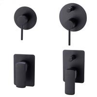 управление клапанами оптовых-Матовый черный латунь душ клапан смеситель для душа кран переключающий клапан настенный смеситель для носика насадка для душа
