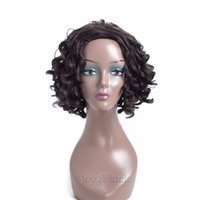 Wholesale cospaly wig resale online - Short Curly Wig Black color Brown High Temperature Fiber Synthetic Wigs For Women Cospaly Wig