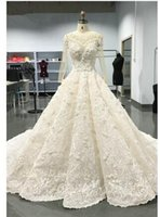 designer winter cocktail dresses NZ - Luxury Long Sleeve Lace Wedding Dresses 2019 Lace Designer Bridal Gowns