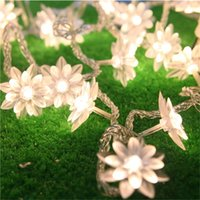 ingrosso alberi decorativi bianchi-20 luci a corde a led Luci a fata natalizie a batteria Warm White Lutos Flower Decorative Indoor Outdoor Tree Party Patio