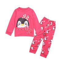 çocuklar giyim fiyatları toptan satış-Rorychen Düşük Fiyat Penguen Noel Çocuk Pijama Setleri Pamuk Çocuklar Pijamas Seti 2-7Y Pijama Kız Pijama Güzel Giyim