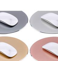metal pc fareler toptan satış-Alüminyum Metal Yuvarlak Oyun Anti Kayma Su Geçirmez Mouse Pad PC Bilgisayar Dizüstü Oyun Mousepad İki Tarafın Kullanımı
