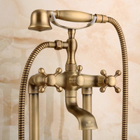 Wholesale Brass Phone - Antique Bronze Bathroom Phone Mixer Brass Carving Luxury Shower Head Handle Standing Faucet Shower Holder for Basin