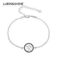 медный круглый подвес оптовых-LUBINGSHINE Hollow Round Pendant Bracelet Wristband Gold Color Women Girls Jewelry Zircon Rhinestones Copper Chain Bracelets