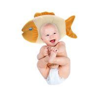 migränekissen großhandel-Baby-Kind verhindern flaches Anti-Migräne-Hauptkissen Neugeborenes Baby-weiches Schlafen Stellungsregler-Fisch-Muster-Baby-Kissen Freies Verschiffen