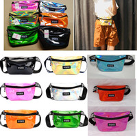Wholesale beach waterproof - Pink letter Laser Waist Bag LOVE PINK Rainbow Hologram Shiny Fanny Pack PACKS Translucent Waterproof Beach Bags Women Crossbody Shoulder Bag