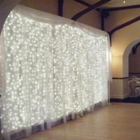 luz de la pared de cortina llevada al por mayor-4.5 * 3 M 300 LED luz de la secuencia de fondo decoración de la pared luz de la boda carámbano luz de la Navidad LED luz de la secuencia de la fiesta de cumpleaños decoración de la cortina